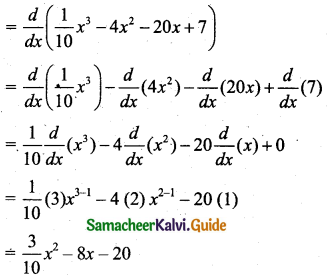 Samacheer Kalvi 11th Business Maths Guide Chapter 6 Applications of Differentiation Ex 6.1 Q1.2