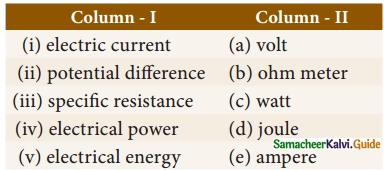 Samacheer Kalvi 10th Science Guide Chapter 4 Electricity 1