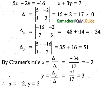 Samacheer Kalvi 12th Maths Guide Chapter 1 Applications of Matrices and Determinants Ex 1.4 1