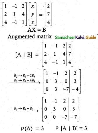 Samacheer Kalvi 12th Maths Guide Chapter 1 Applications of Matrices and Determinants Ex 1.6 1