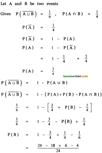 Samacheer Kalvi 11th Maths Guide Chapter 12 Introduction to Probability Theory Ex 12.5 5