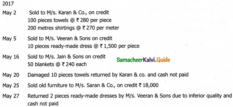Samacheer Kalvi 11th Accountancy Guide Chapter 6 Subsidiary Books – I 26
