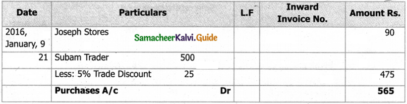 Samacheer Kalvi 11th Accountancy Guide Chapter 6 Subsidiary Books – I 78