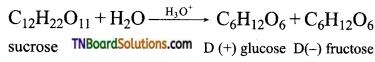 Question 1. What are monosaccharides? Answer: Monosaccharides are carbohydrates which cannot be hydrolysed to simple molecules. Their general molecular formula is C<sub>n</sub>(H<sub>2</sub>O)<sub>n</sub> where n = 3 to 7. There are two types. Those which contain an aldehyde group are called aldoses and those which contain a ketonic group are called ketoses. They are further classified as trioses, tetroses, pentose, hexoses etc according to as they contain 3, 4, 5, 6 carbon atom respectively. Question 2. Classify the following as monosaccharides and disaccharides: Ribose: 2 - deoxy ribose; maltose, galactose, fructose, and lactose. Answer: Monosaccharides: Ribose, 2-Deoxyribose, galactose and fructose. Disaccharides: Maltose and lactose. Question 3. What are the products of hydrolysis of (i) sucrose (ii) lactose. Answer: Both sucrose and lactoses are disaccharides. Sucrose on hydrolysis gives one molecule of each of glucose and fructose. Lactose on hydrolysis gives one molecule of glucose and galactose. Question 4. How do you explain the presence of all six carbon atoms in glucose in a straight chain? Answer: Since, n - hexane has six carbon atoms connected in a straight chain, therefore glucose also has six carbon atoms connected in a straight chain. Question 5. The letter 'D' or 'L' before the name of a stereo isomer indicates the correlation of configuration of that particular stereo isomers. This refers to their relationship with one of the isomers of glyceraldehyde. Predict whether the compound is has D or L configuration. Answer: Since the configuration of the 'OH' group at the penultimate chiral carbon (last but one or C<sub>5</sub>) is towards left, therefore the given compound has 'L' configuration. Question 6. How do you explain the presence of five - OH groups in a glucose molecule? Answer: On acetylation with acetic anhydride in presence of pyridine, or a few drops of cone. H<sub>2</sub>SO<sub>4</sub>, it is converted into glucose penta acetate. This con